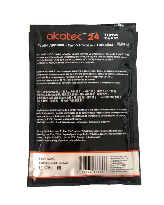 Дрожжи Alcotec 24 Classic Turbo, 175 гр