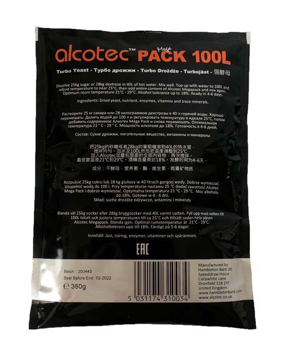 Турбо дрожжи Alcotec Mega Pack 100 л